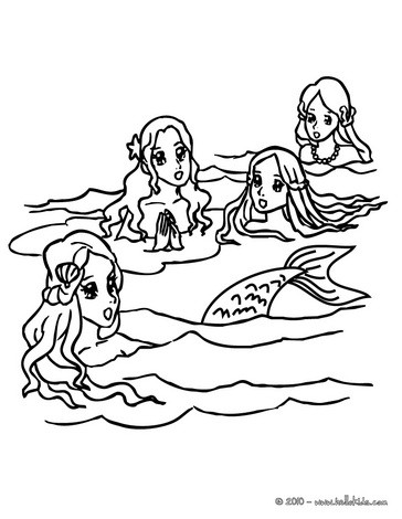 364x470 Group Of Young Mermaids Swimming Coloring Pages
