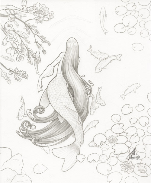 500x606 Koi Mermaid Pencils By Jilljohansen