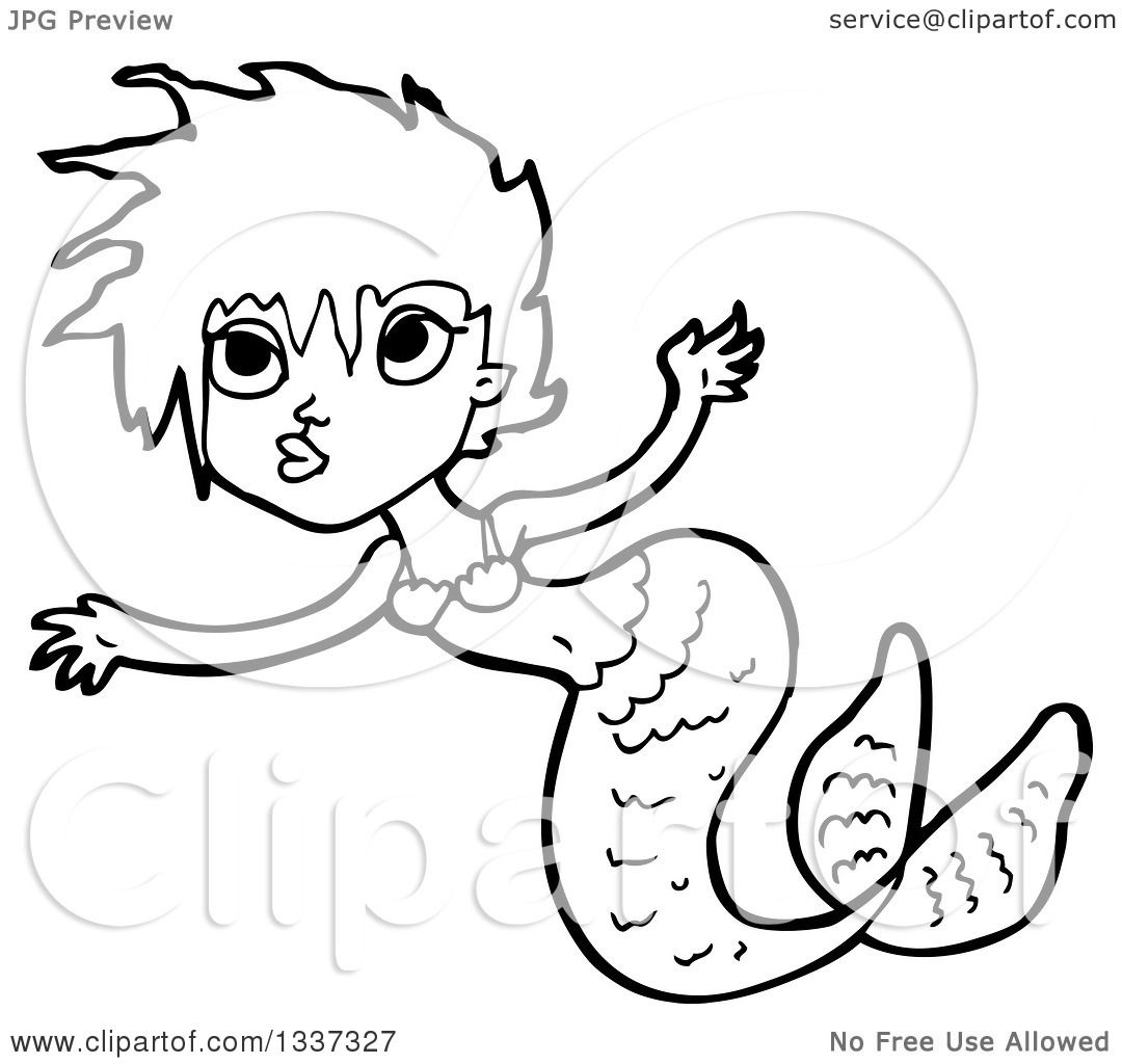 1080x1024 Lineart Clipart Of A Cartoon Black And White Mermaid Swimming 6