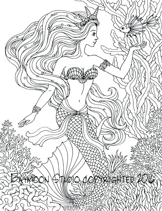 570x738 Mermaid Coloring Pages Adults Mermaid Coloring Pages