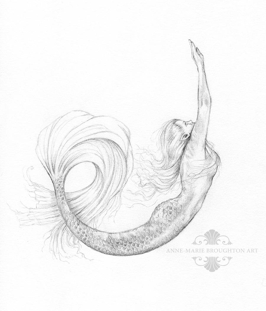 900x1052 Original Mermaid Art Drawing 8x10 Inch Rise Mermaid Swimming