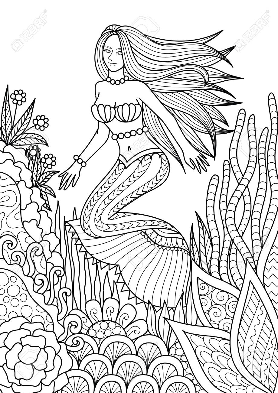 919x1300 Pretty Mermaid Swimming Among Beautiful Coral Design For Adult