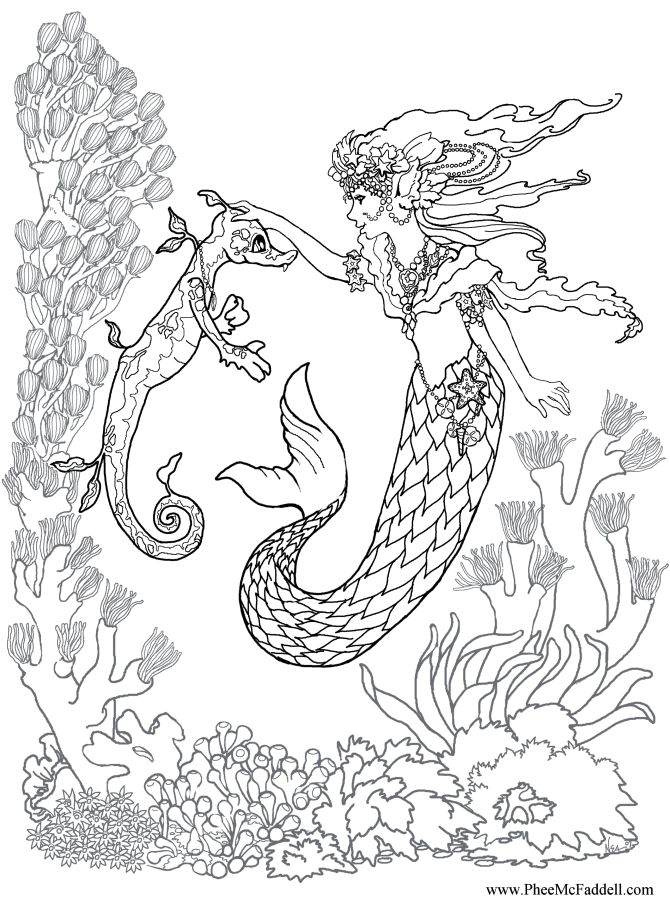 670x900 Adult Coloring Pages Mermaid 582672