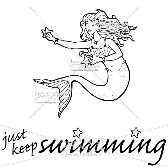 537x536 Simple Drawing Of Mermaid Swimming For Pearl Keep Swimming