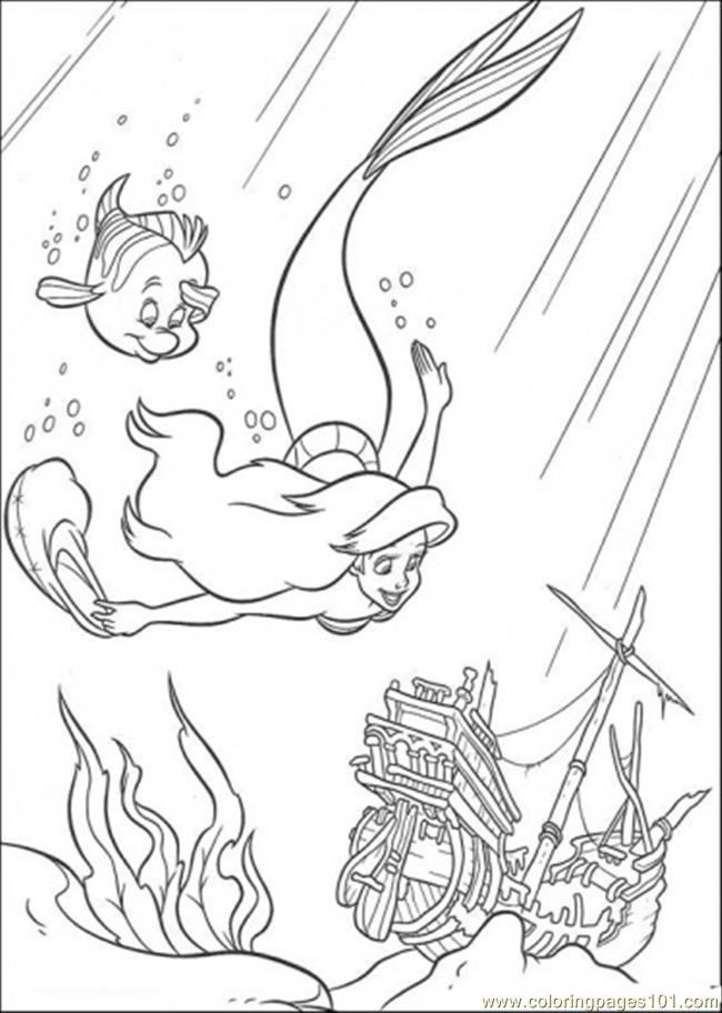 650x912 Ariel And Flounder Are Swimming Together Coloring Page