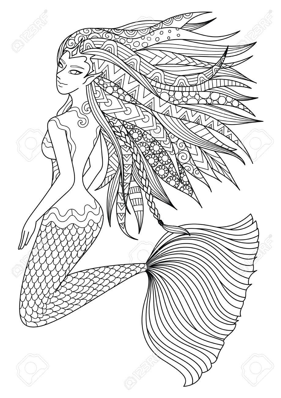 919x1300 Beautiful Mermaid Swimming In The Ocean Design For Adult Coloring