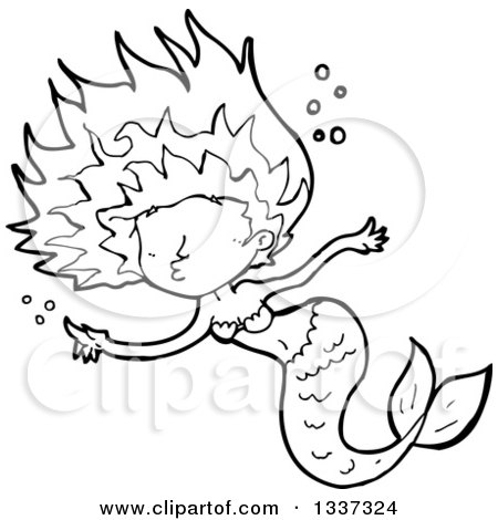 450x470 Clipart Of A Cartoon Red Black Mermaid Swimming