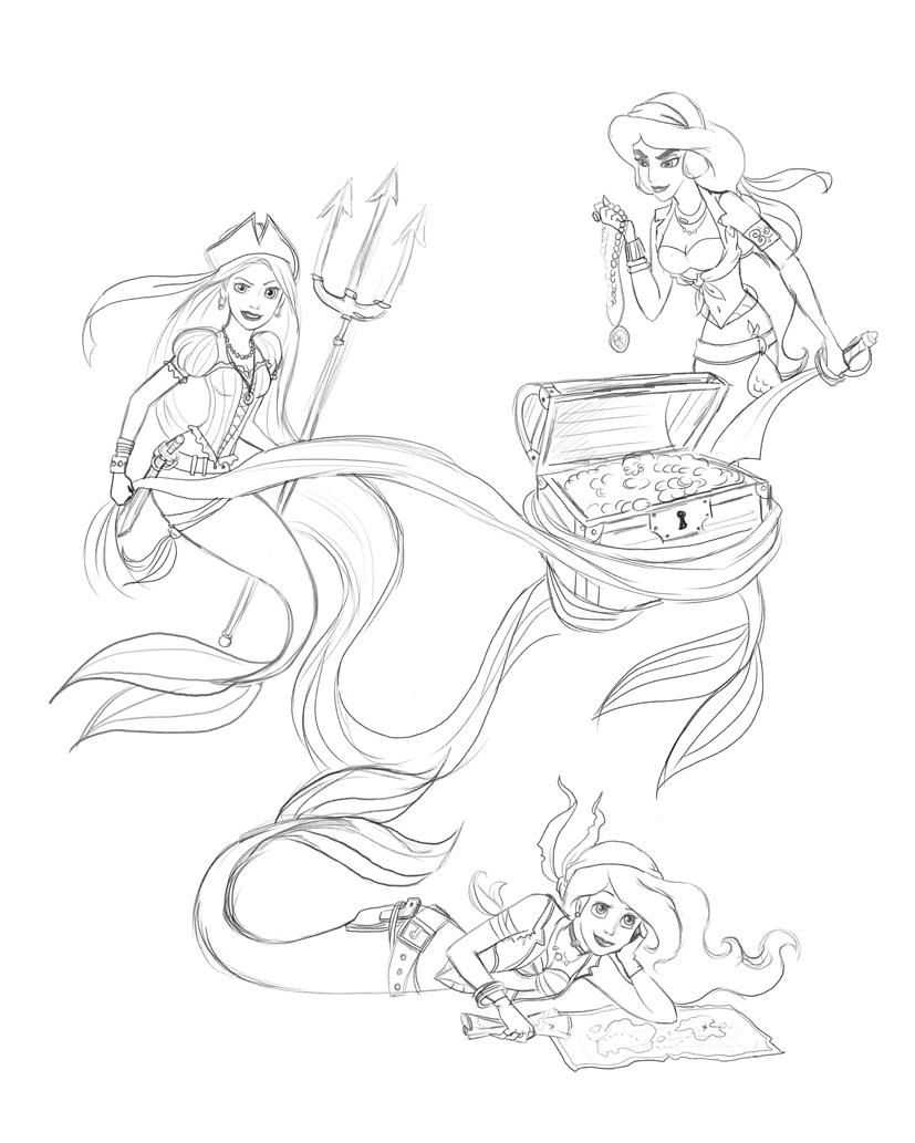 827x1033 Madmoiselleclau Art Blog Disney Pirate Mermaids