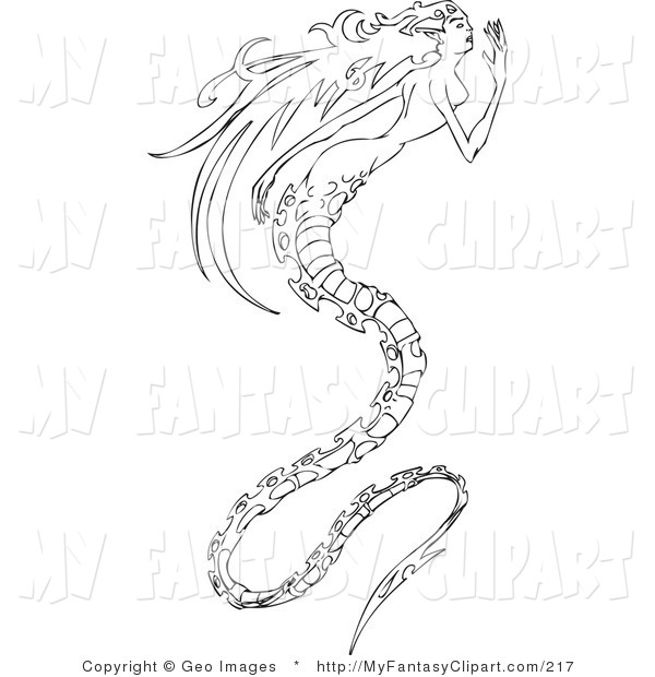 600x620 Clip Art Of A Black And White Long Haired Mermaid With A Long