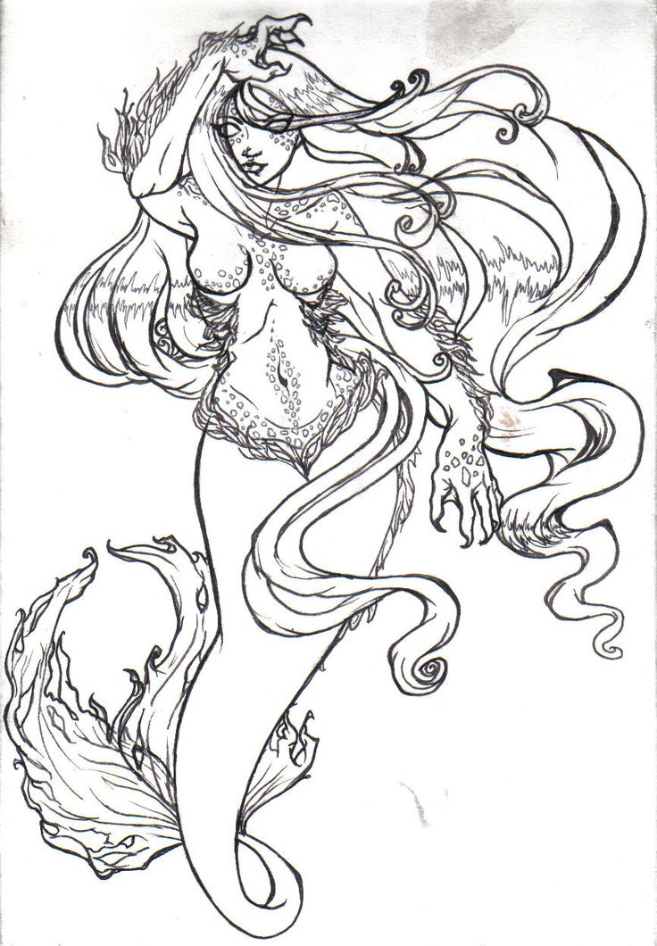 Mermaid Tattoo Drawing At Getdrawingscom Free For Personal Use