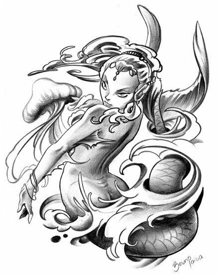 438x551 Aquarius Mermaid Drawings Mermaid Changing By Mermaid Tattoo