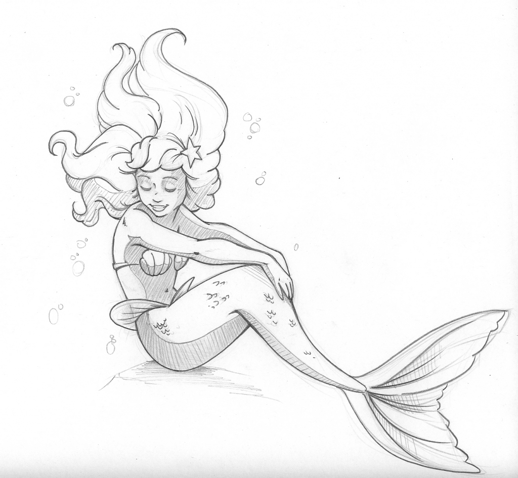 1024x945 Mermaid Pencil Sketch On Notebook Mermaid Pencil Drawing Pencil