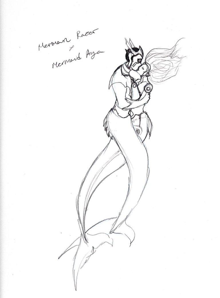 768x1041 Glts Merman Razer And Mermaid Aya Rough By Kyukitsune