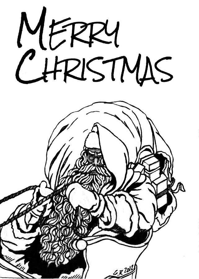 642x900 Merry Christmas Drawing By Gomer Robinson