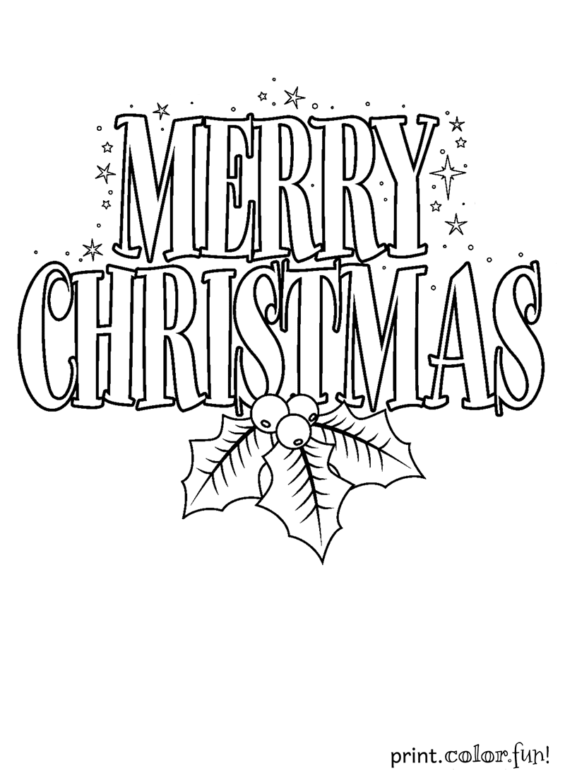 800x1100 Merry Christmas Sign Coloring Page