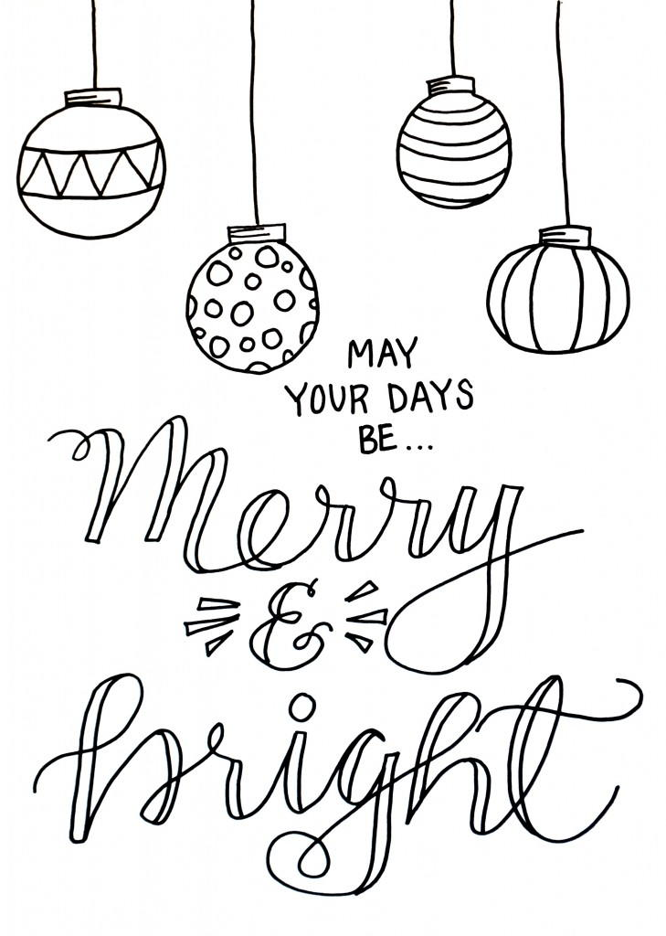 729x1024 Merry And Bright Christmas Coloring Page Merry, Bright And Free