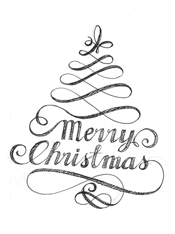 360x480 Classy Woman Xmas Flourish, Merry And Calligraphy