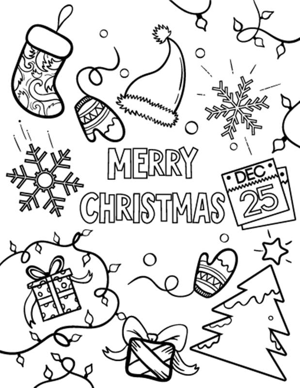 619x800 Free Printable Santa Merry Christmas (Xmas) Coloring Pages Sheets