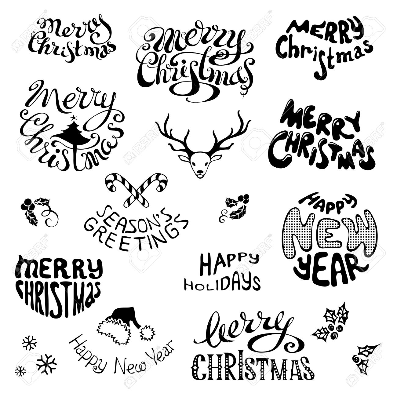 1300x1300 Hand Drawn Merry Christmas Drawing Merry Christmas Amp Happy New