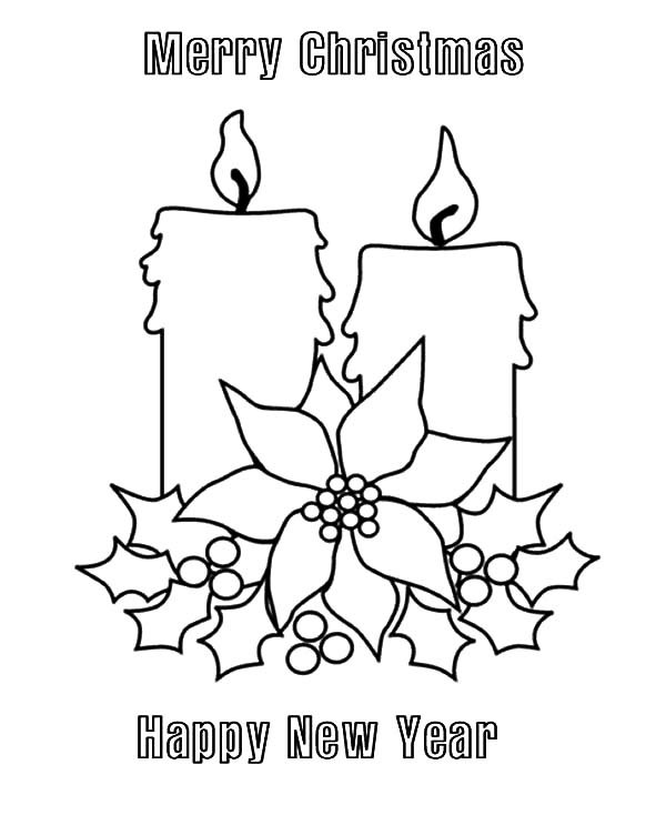 600x734 Merry Christmas Candle And Happy New Year Coloring Pages