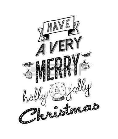382x450 Merry Christmas Lettering Handwritten Design. Holly Jolly Happy
