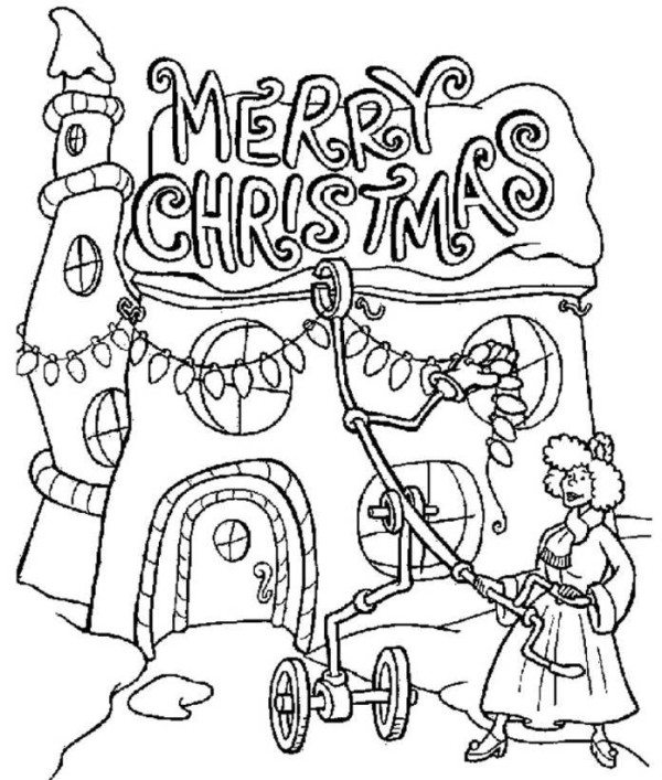 600x707 Snowman Merry Christmas Coloring Page