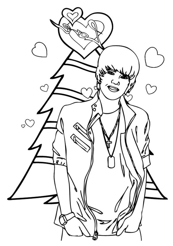 600x849 Merry Christmas Justin Bieber Coloring Page