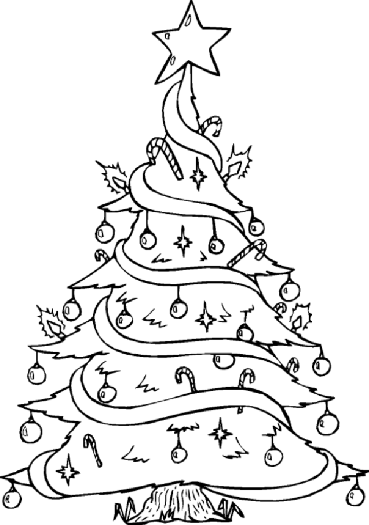 Christmas Santa Claus Tree Gift Coloring Page Stock Illustration ... | 1036x728
