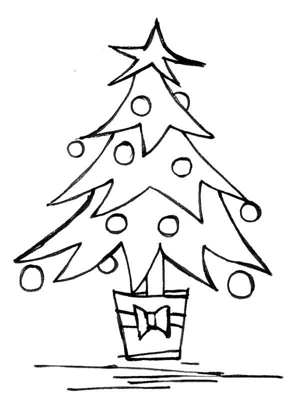 600x819 line drawing christmas tree drawing merry christmas amp happy new - How Do You Draw A Christmas Tree