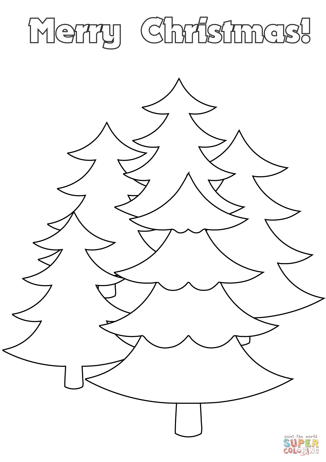 1060x1500 Merry Christmas Card With Trees Coloring Page Free Printable