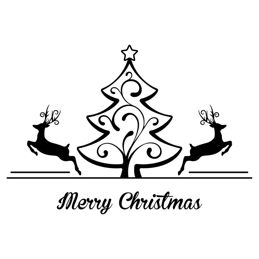 866x866 Merry Christmas Tree Deer Graphics Svg Dxf Eps Png Cdr Ai Pdf