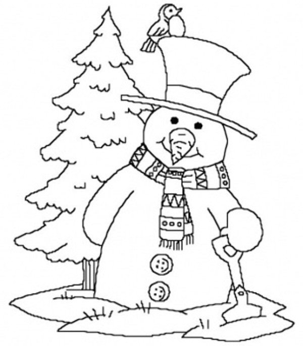 600x686 Snowman Merry Christmas Coloring Page Near