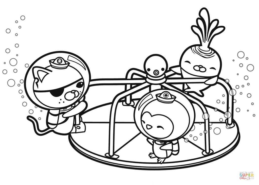 1050x751 Friends Are Found On A Merry Go Round Coloring Page Free