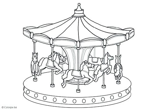 500x354 Merry Go Round Coloring Page Merry Go Round Horse Coloring Page
