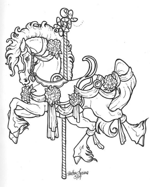 580x720 Merry Go Round Coloring Pages