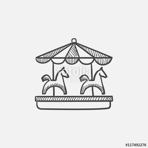 500x500 Merry Go Round Sketch Icon. Stock Image And Royalty Free Vector