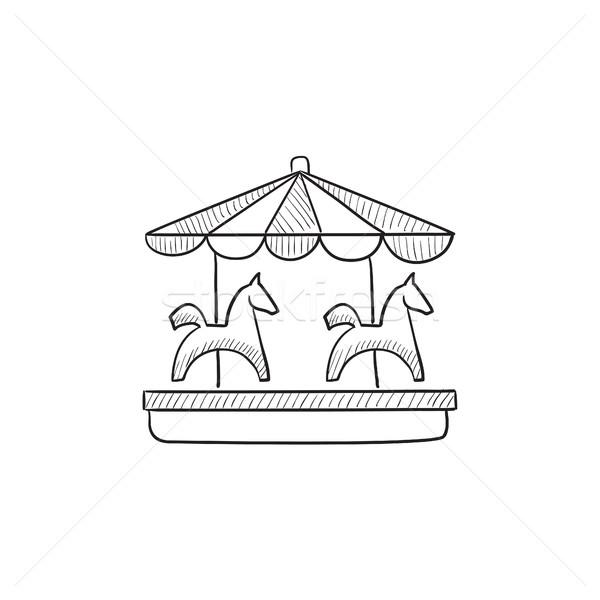 600x600 Merry Go Round Sketch Icon. Vector Illustration Andrei Krauchuk