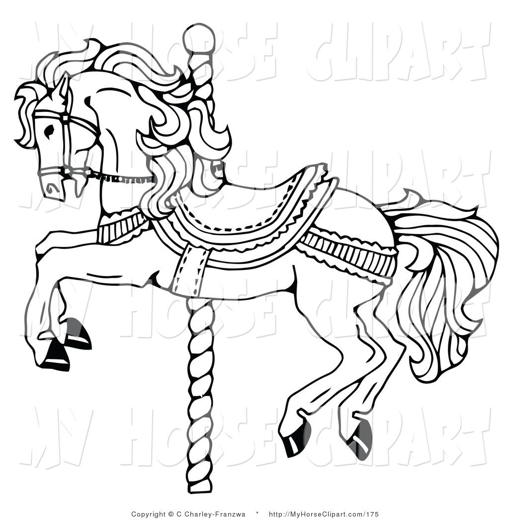 1024x1044 Clip Art Of A Carousel Horse On A Spiraling Pole On White By C