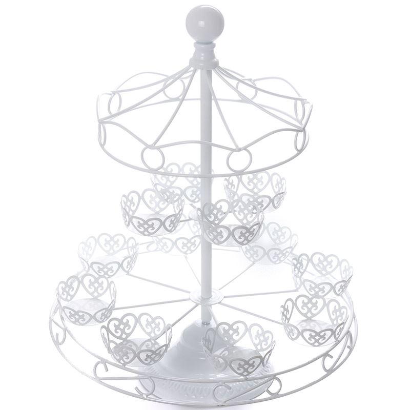 800x800 White Carousel Cupcake Stand Merry Go Round Cake Baking Display