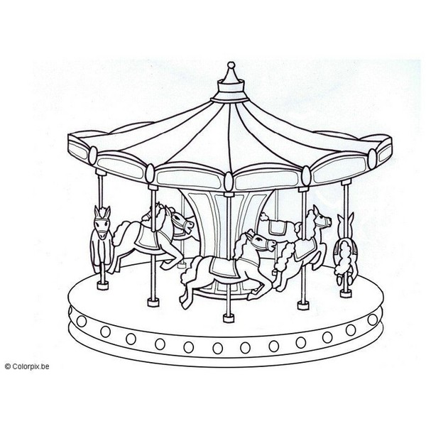 600x600 Coloring Page Merry Go Round. Free, Printable, Realistic. Coloring