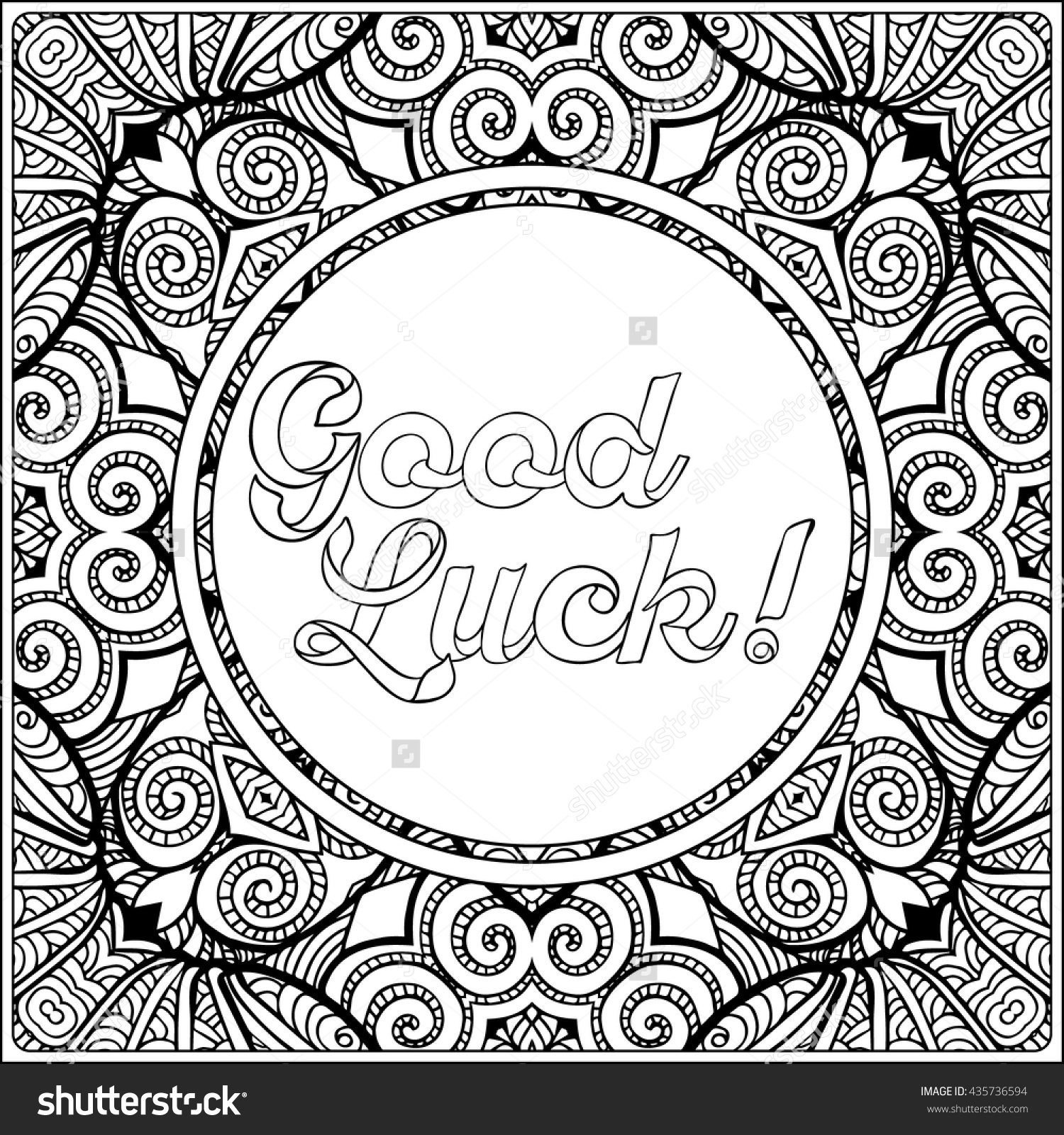 1500x1600 Good Luck Lettering. Coloring Page With Message On Vintage Pattern