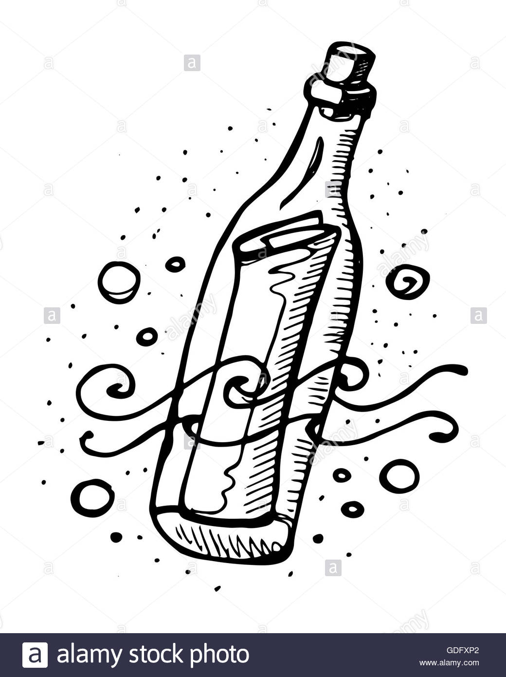 1040x1390 Hand Drawn Vector Illustration Or Drawing Of A Message In A Bottle