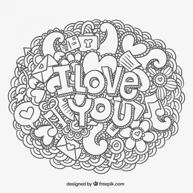 626x626 I Love You Message And Doodles Vector Free Download