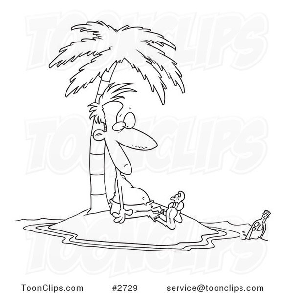 581x600 Cartoon Black And White Line Drawing Of A Stranded Guy Staring