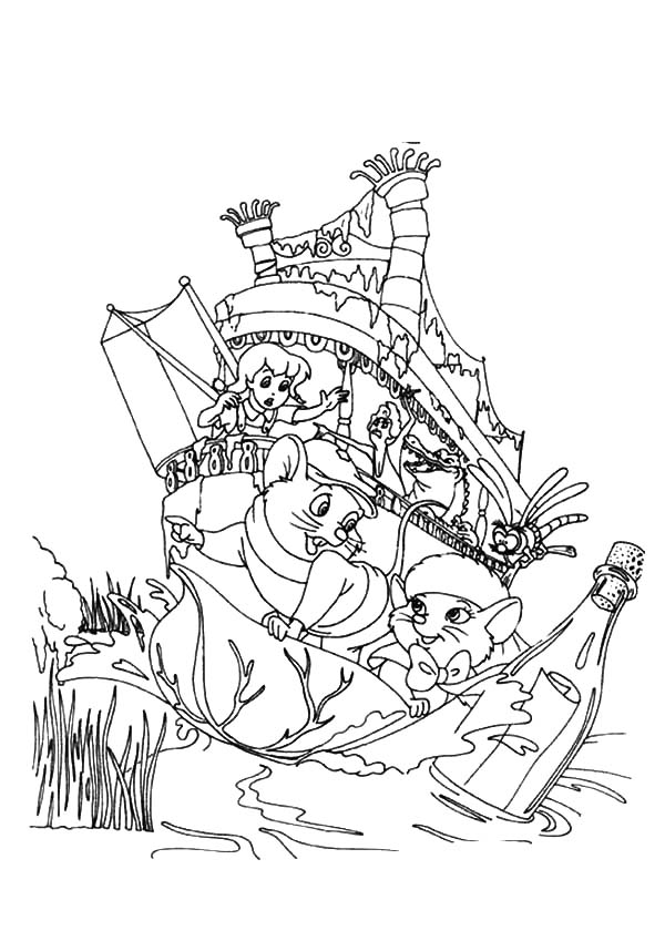 600x849 The Rescuers Save Message In A Bottle Coloring Pages The Rescuers