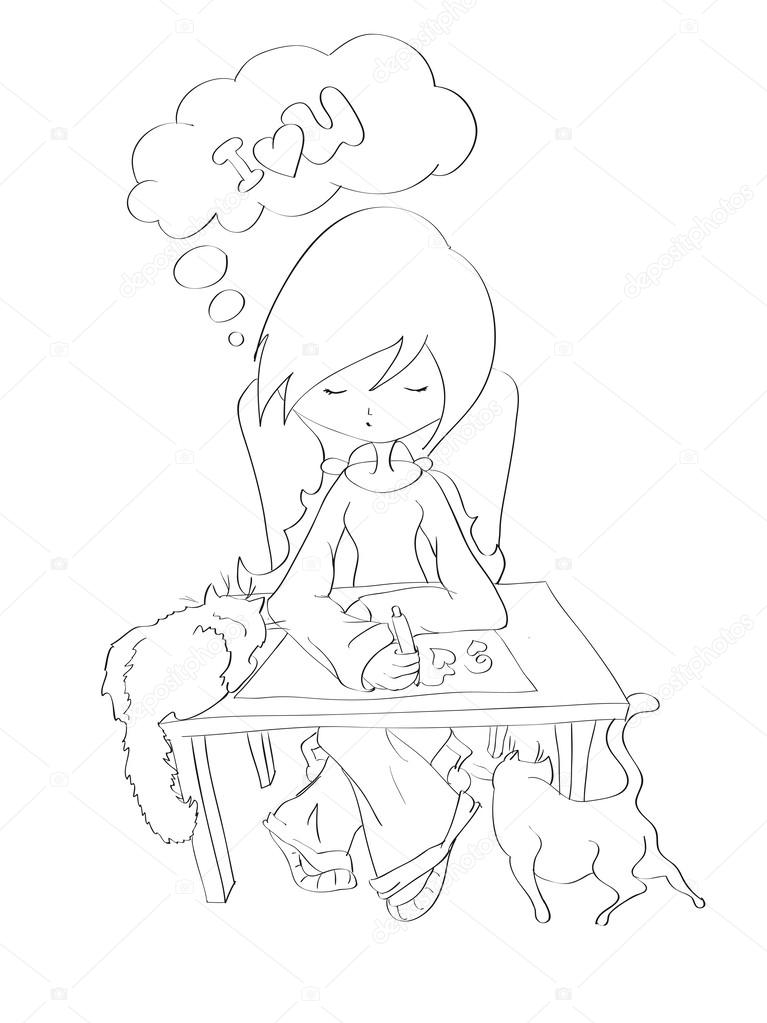 767x1023 Contour Of Beautiful Girl With Two Cats Drawing Romantic Message