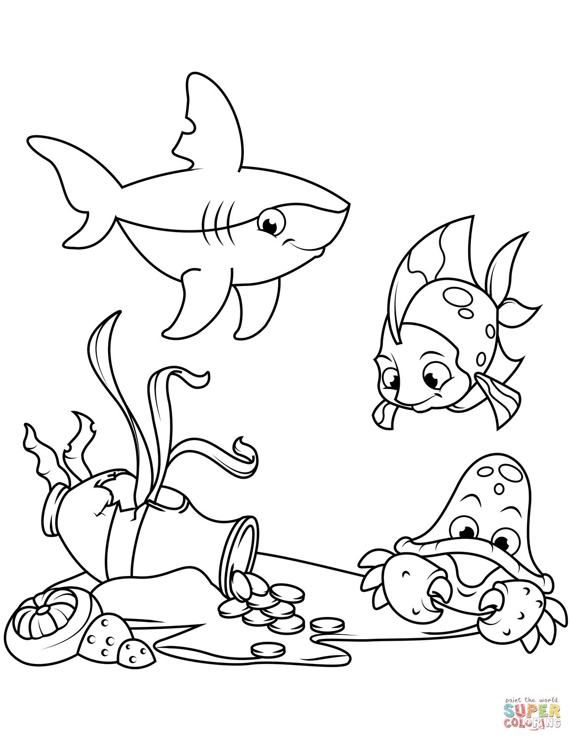 1159x1500 Message In A Bottle On Sea Bottom Coloring Page Free Printable