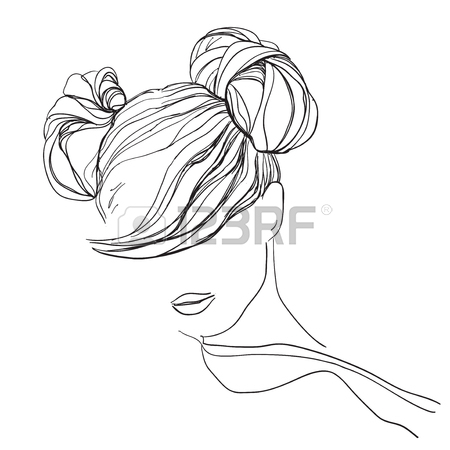 450x450 Girl With Messy Bun. Hand Drawn Hairstyle Royalty Free Cliparts