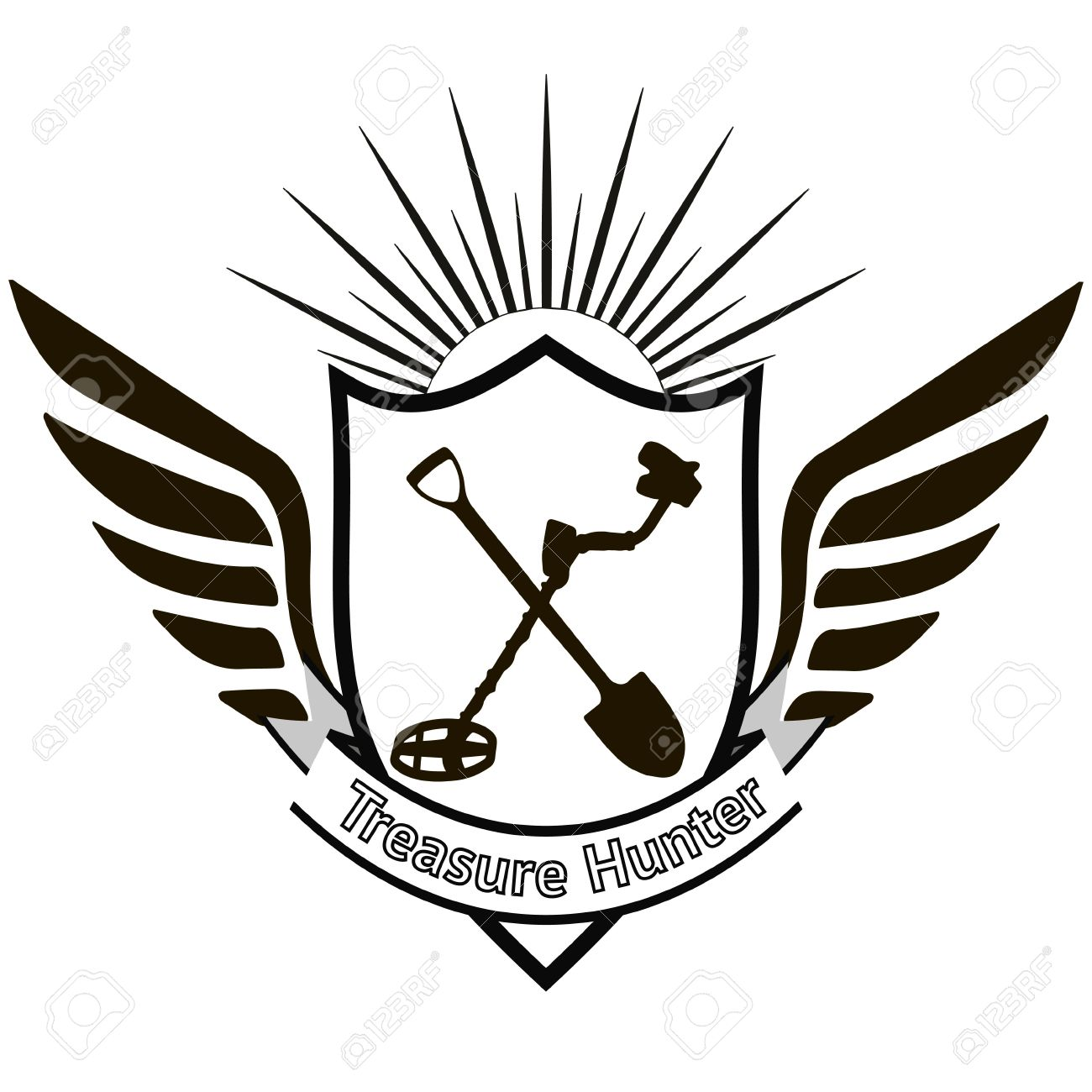 1300x1300 Treasure Hunter, Heraldic Sign With A Shovel And A Metal Detector