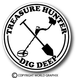 299x300 Treasure Hunter Dig Metal Detector Sticker Decal Garrett Minelab
